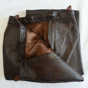 "Women's (Unisex) D. Choc Leather Pants (32""W x32""L) Made Germany"