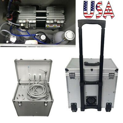 Portable Dental Delivery Turbine Unit Rolling Case Air Compressor Suction Motor