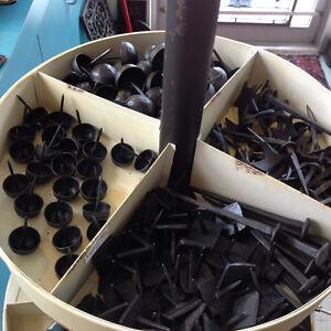 Cast iron hardware, brackets, ceramic knobs, trellises
