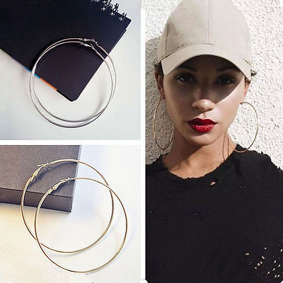 (Stylish Chic Women Gold Silver Metal Big Circle Smooth Large Ring Hoop Earrings)