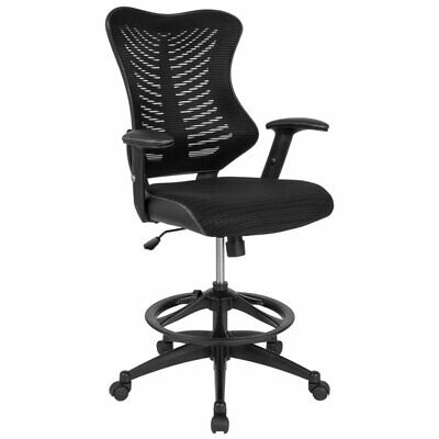 Flash Furniture Mesh High Back Swivel Drafting Stool In Black
