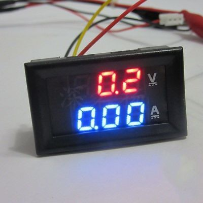 DC 100V 10A Voltmeter Ammeter Blue+Red LED Dual Digital Volt Amp Meter Gauge EC