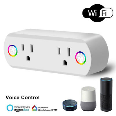 Mini Smart Wifi 2 in 1 Plug Outlet Swtich Work Echo Alexa Google Home App Remote