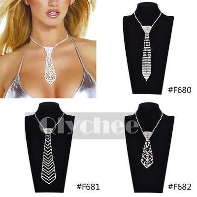 Women Sexy Rhinestone Crystal Bling Bow Tie Necktie Choker Necklace Fashion