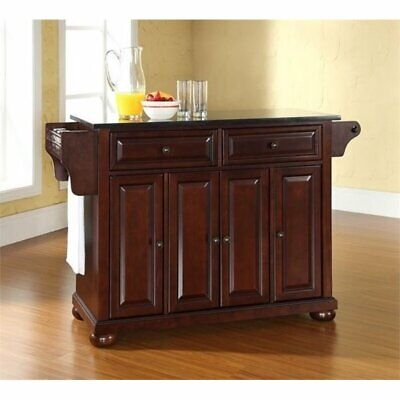 Bowery Hill Black Granite Top Kitchen Island in Mahogany ()