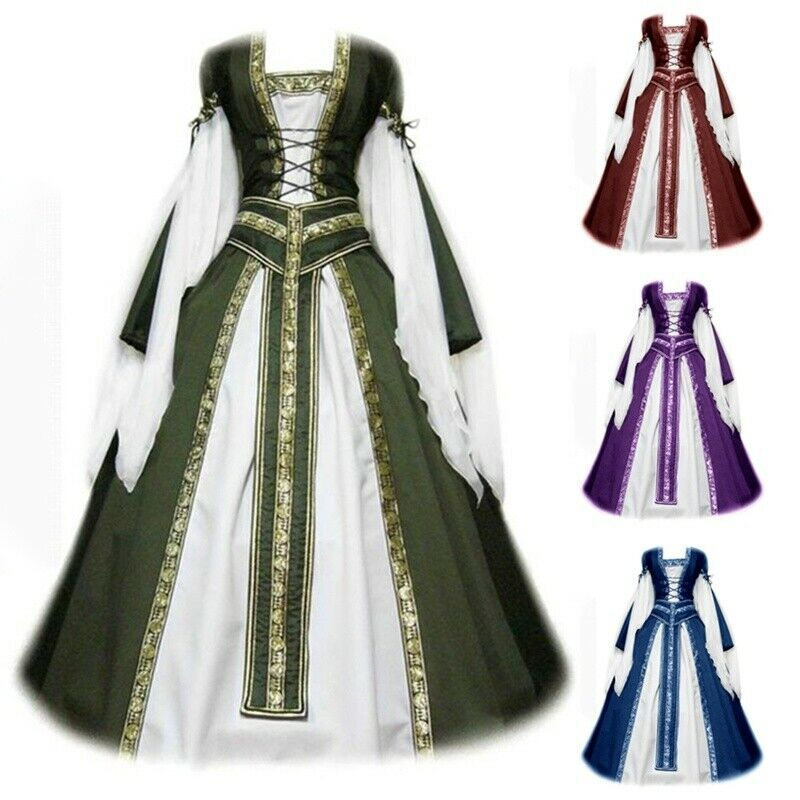 Womens Victorian Dress Medieval Renaissance Vintage Dress Cosplay Party Dress
