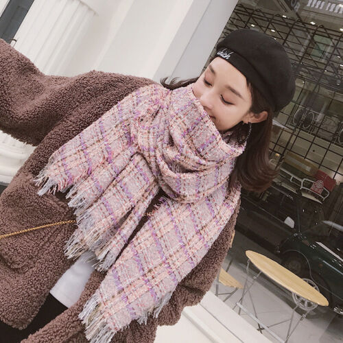 Women Tweed Scarf Winter Warm Fringe Fuzzy Wool Blend Houndstooth Plaid Shawl US Clothing, Shoes & Accessories