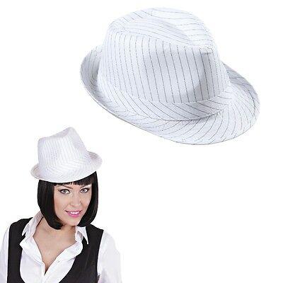Premium Gangster Hut weiß mit Nadelstreifen Fedora Hut - Weißer Fedora Hut