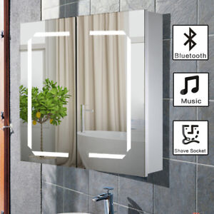 Bathroom Mirror Cabinet Bluetooth Shaver Socket Sensor Demister With LED Lights