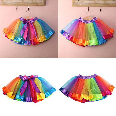 USA Stock Kids Lovely Colorful Tutu Skirt Girls Rainbow Tulle Tutu Mini Dress YM