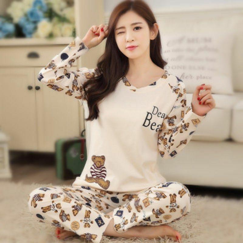 Women Long Sleeve Nightwear Sleepwear Two Piece Pajamas Sleepwear Cloth Set