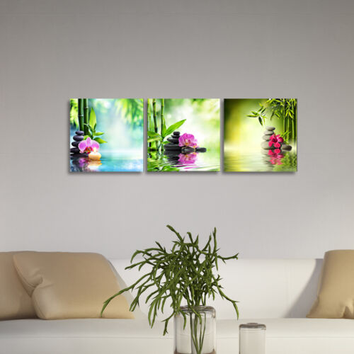 Canvas Print Painting Pic Wall Art Home Decor Landscape Green Zen Flowers Framed - $2.99