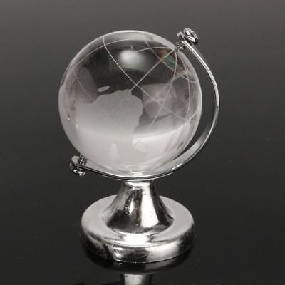 Round Earth Globe World Map Crystal Glass Clear Paperweight Stand Desk - Decorative World Globe