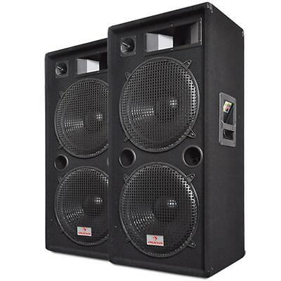 "PAIR 15"" DUAL BASS DJ PA 3 WAY DISCO SPEAKERS 2 x 1500W *FREE P&P SPECIAL OFFER"