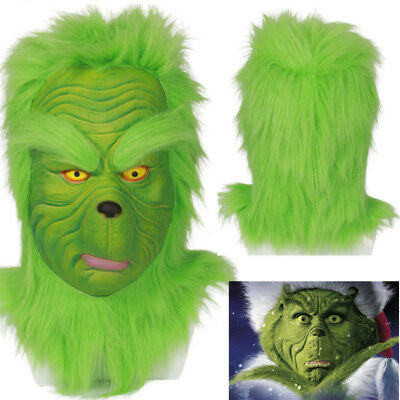 Grinch Mask Cosplay Costume Prop How the Grinch Stole Christmas Halloween Helmet