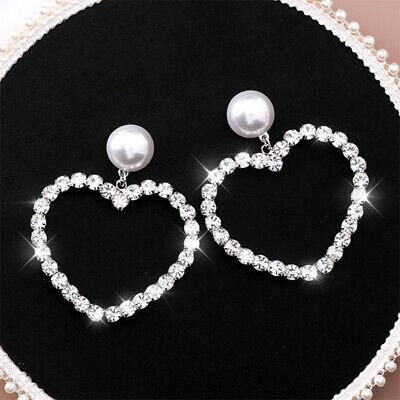 Women Crystal Rhinestone Hollow Heart Drop Dangle Earrings Pearl Ear Studs Large ()