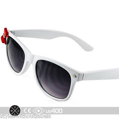 Womens White Kitty Sunglasses Red Bow Ribbon Nerd Retro Fashion Cute S186
