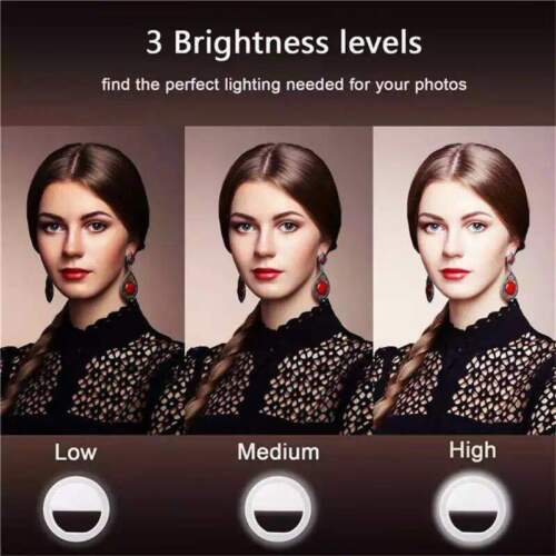 Rechargeable Selfie  LED Ring Light For Apple iPhone Samsung HTC Phone Light