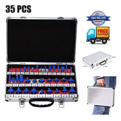 New Pro Router Bits Set - 35 Pc 14 Inch Shank Carbide Kit Aluminum Case Sae Us