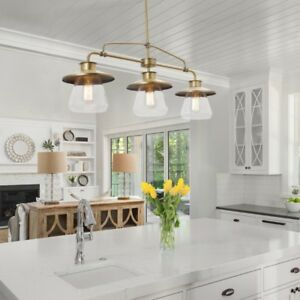Globe Electric Nate 3-Light Brass Pendant