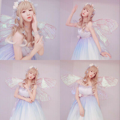 Adult Transparent Butterfly Wings Angel Wings Fairy Cosplay Party Costume Props (Fairy Wings Transparent)