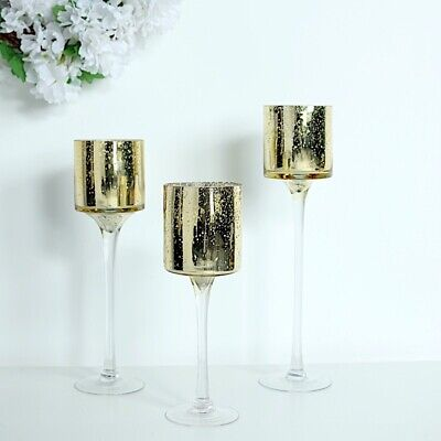 Gold Set of 3 Raised Cylinder Glass Vases CENTERPIECES Wedding Party Supplies