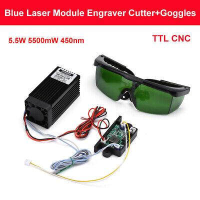 Powerful Cnc Ttl 5.5w 5500mw 450nm Blue Laser Module Engraving Cutter Goggles