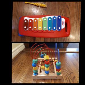Fisher Price Xylophone & Wooden Beads Maze/Roller Coaster (Lot)
