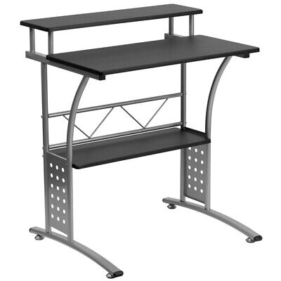 Computer Desk Or Lap Top Desk With Black Laminated Top And Lower Storage Shelves