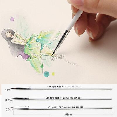 3pcs Weasel's Hair Brush Pen Nail Art Strokes Watercolor Paint Oil Painting Draw