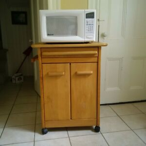 wooden microwave stand/cabinet and microwave oven