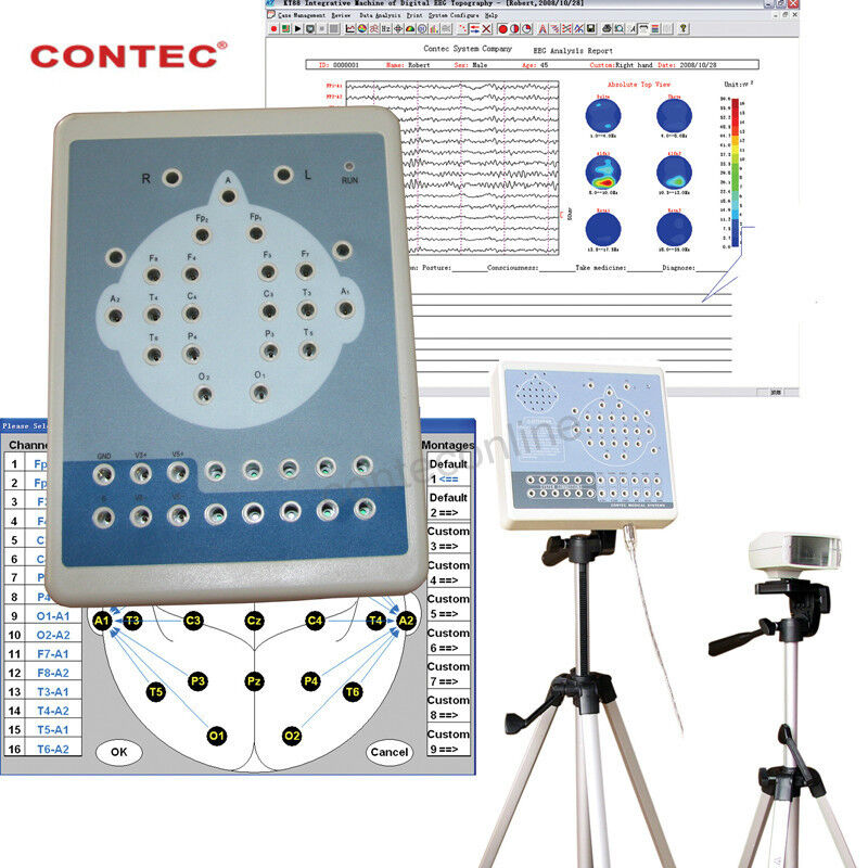 CONTEC KT88-1016 16 Channels Digital EEG EKG Mapping System ,Record,Software