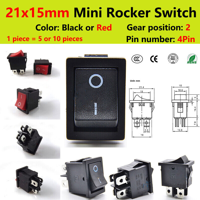 21x15mm Mini Rocker Switch Black Red 4 PIN KCD1 6A 250V 2 Position 5/10 Sets
