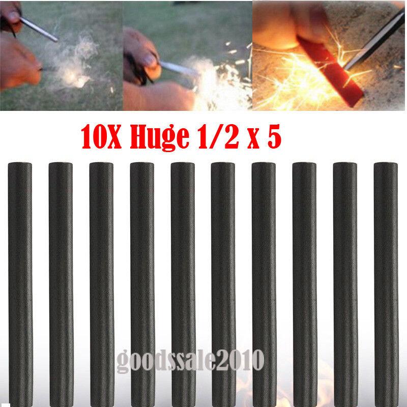 Lot Huge 1/2 x 5 Ferrocerium Rod Flint Fire Starter Magnesium Outdoor Camping