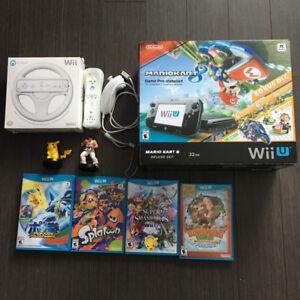 Wii U Mario Kart avec Jeux et manettes.