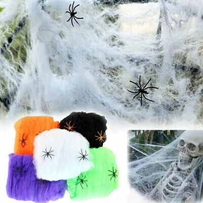 Scary Spiders For Halloween (Halloween Scary Scene Props Stretchy Cobweb Spider Web Horror Decor for)