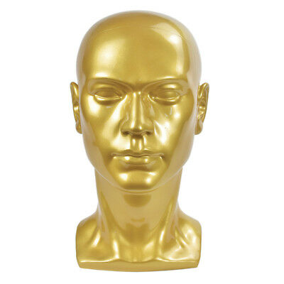 1pc Male Mannequin Manikin Head Display Wig Hat Glasses Show Stand Model Gold