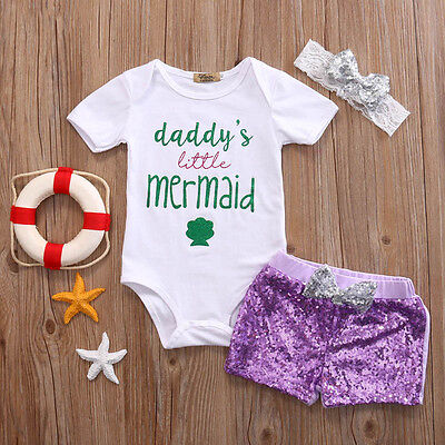 Newborn Baby Girls Little Mermaid Outfits Romper Bodysuit Headband 3PCS Set](Little Mermaid Outfits)