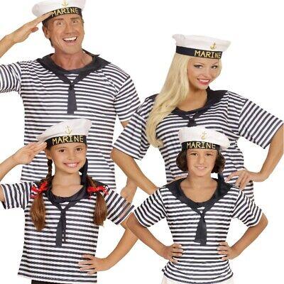 SEEMANN MARINE Kostüm Set -Shirt mit Hut- Partnerkostüm für Damen Herren Kinder
