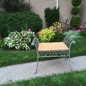 Beautiful Chair/Bench/Stool - High Quality Wrought Iron and Cane