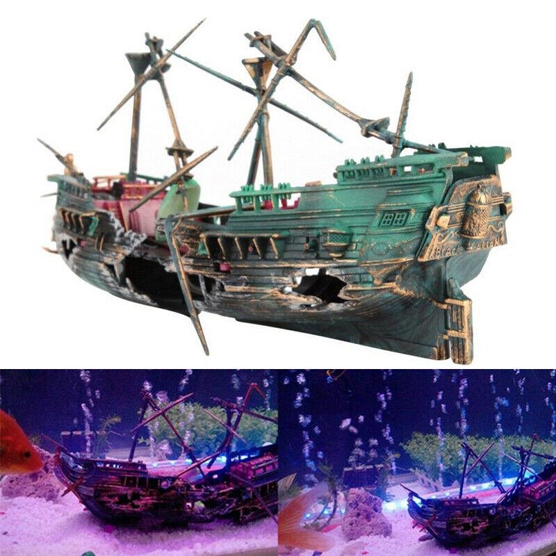 Shipwreck Schiffswrack Aquarium Deko Fisch Tank Harz Boot Marine Höhle Zubehör