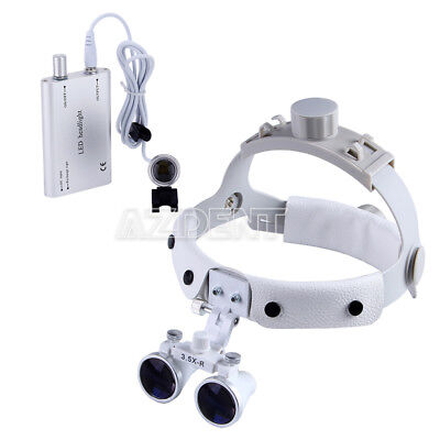 Dental 3.5x Loupe Surgical Binocular Headband Glass Magnifier Led Head Light Hot