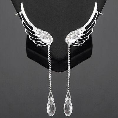 - SEXY SPARKLES Angel Wing Earrings Silver Tone Crystal Glass Teardrop Tassel W/Cl
