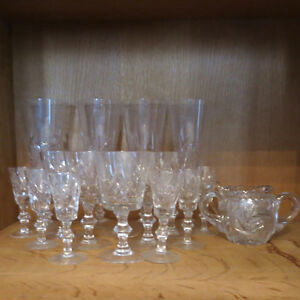 Vintage Cut Crystal Glasses Cream Sugar Pinwheel Stunning Set 18