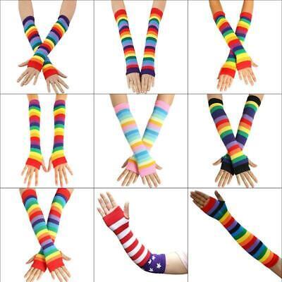 Girls Long Gloves (Women Girl Knitted Over Elbow Long Arm Warmers Rainbow Stripes Fingerless)