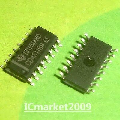 100 Pcs Cd4511bm Sop-16 Cd4511 Bcd To 7-segment Latchdecoderdriver