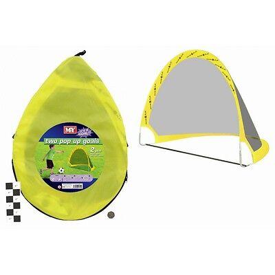 Set of 2 Pop Up Goals Carry Zip BAG Pegs Ball & Pump
