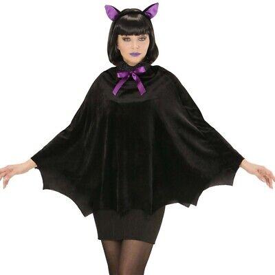 Fledermaus Cape Kostüm 2tlg Poncho mit Ohren Vampirumhang Damen Halloween