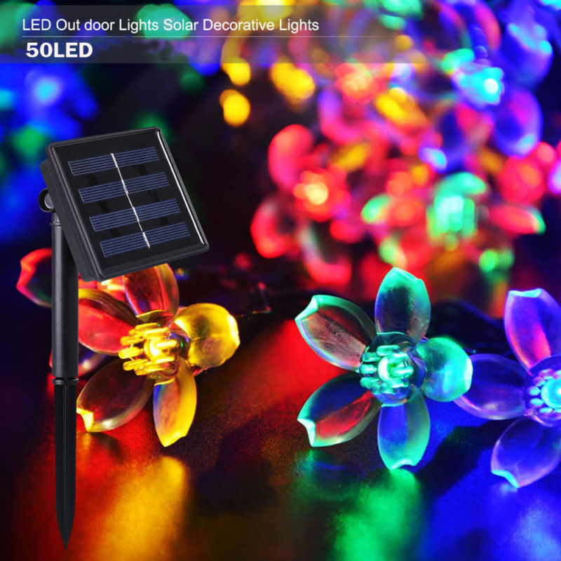 50 led solar lichterkette blumen party au enbeleuchtung gartendekoration neu de ebay. Black Bedroom Furniture Sets. Home Design Ideas
