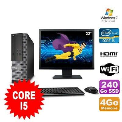 Lot PC DELL 3010 SFF I5-2400 DVD 4Go 240Go SSD HDMI Wifi W7 + Ecran 22
